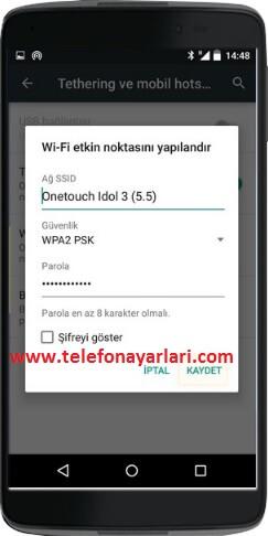 Alcatel Telefonlarda Wifi Noktası Hotspot Oluşturma