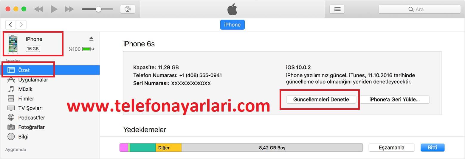 iphone yazılım güncelleme