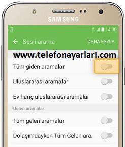 Samsung Arama Yönlendirme İşlemi: