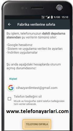 Turkcell Telefonlarda Fabrika Ayarlarına Döndürme