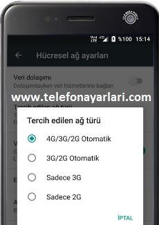 Turkcell Telefonlarda Şebeke Seçimi