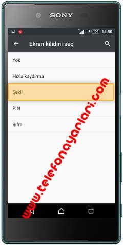 Sony Telefonlarda Şifre Koyma