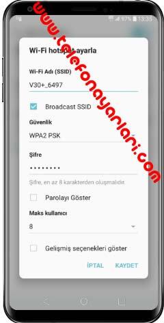 LG K9 Hotspot İnternet Paylaşımı