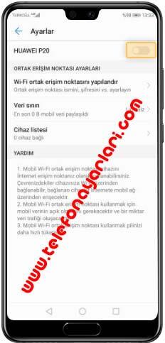 Huawei P30 Hotspot İnternet Paylaşımı