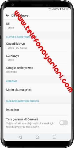 LG K50S Dil Değiştirme