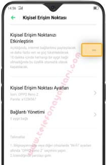 Oppo Find X2 Hotspot İnternet Paylaşımı