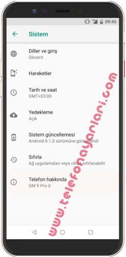 General Mobile GM 8 Güncelleme
