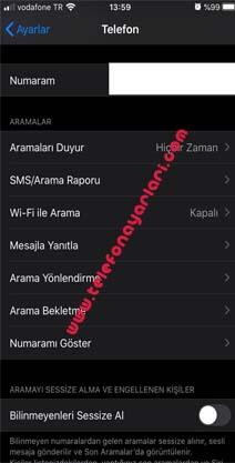 iPhone 11 Numara Gizleme