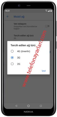 Nokia 2.4 şebeke seçimi