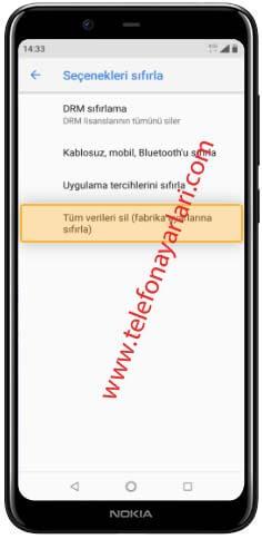 Nokia 8.1 Fabrika Ayarlarına Döndürme